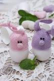复活节彩蛋的逗人喜爱的兔宝宝 库存照片