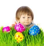 复活节彩蛋的婴孩狩猎 库存照片