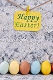 复活节彩蛋被绘的行 免版税库存图片