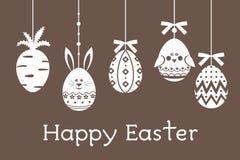 复活节彩蛋设置了用红萝卜,鸡蛋,鸟,兔子 免版税库存图片
