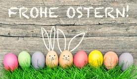 复活节彩蛋逗人喜爱的兔宝宝 Frohe Ostern愉快的复活节德语 免版税图库摄影