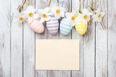 复活节彩蛋,在白色木背景的新鲜的春天黄水仙 看板卡复活节 库存照片