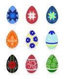 复活节彩蛋:导航与被绘的一套的例证五颜六色 库存图片
