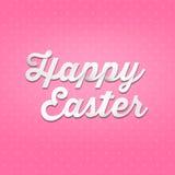 复活节快乐, 3D在样式背景的手写类型 免版税图库摄影