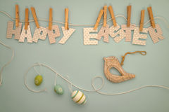 复活节快乐-信件晾衣绳2 库存图片