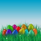 复活节快乐!贺卡,在草的鸡蛋 图库摄影