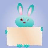 复活节快乐!贺卡,滑稽的兔宝宝 与文本框的兔子 免版税图库摄影