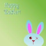 复活节快乐!贺卡,滑稽的兔宝宝 免版税库存图片