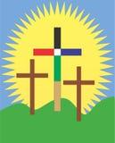 复活节早晨空的十字架和大太阳 免版税库存图片
