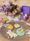 复活节曲奇饼在假日的前夕 免版税库存图片