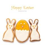 从复活节曲奇饼设置以鸡蛋的形式 免版税库存照片