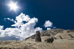 复活节朝向海岛moai 免版税库存图片
