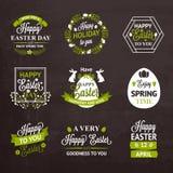 复活节标签和徽章在黑板背景 库存图片