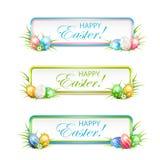 复活节横幅用多彩多姿的鸡蛋 向量例证