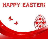 复活节横幅用贴纸鸡蛋。 免版税库存图片