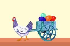 复活节母鸡与鸡蛋它的台车的  免版税库存图片