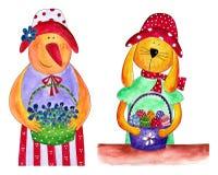 复活节母鸡和兔宝宝。 乡村模式 免版税库存照片