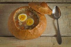 复活节汤用鸡蛋和香肠 免版税库存图片