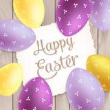 复活节海报用在木头的五颜六色的鸡蛋 库存图片