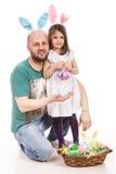 复活节父亲和女儿 库存照片