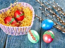 复活节猫杨柳和复活节彩蛋在地道背景 看板卡愉快的复活节 免版税库存照片