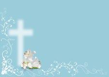 复活节百合和十字架 免版税库存图片