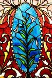 复活节百合污迹玻璃窗 库存照片