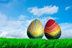复活节的日出和日落鸡蛋 库存照片