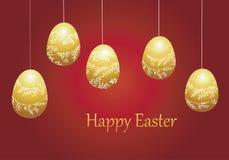 复活节的明亮的贺卡用鸡蛋 与简单的几何图的颜色构成 库存照片