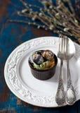 复活节的餐位餐具 免版税图库摄影
