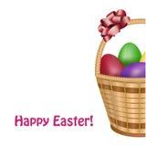 复活节篮子用五颜六色的鸡蛋 免版税图库摄影