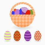 复活节篮子用色的鸡蛋 背景设计要素空白四的雪花 库存图片