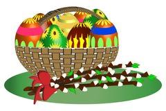 复活节篮子-例证 库存图片