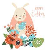 复活节背景用兔子,花,鸡蛋 皇族释放例证