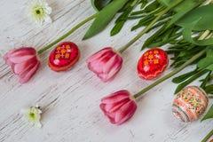 复活节背景用复活节彩蛋和桃红色郁金香在轻的木背景 免版税库存照片