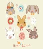 复活节背景用滑稽的兔子和鸟 库存图片