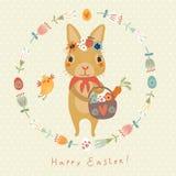 复活节背景用滑稽的兔子和鸟 免版税库存照片