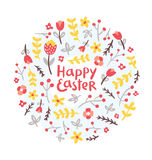 复活节花卉花圈 免版税库存照片