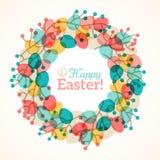复活节花圈用五颜六色的鸡蛋 库存图片