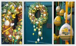 复活节花圈 在房子的木门的春天装饰 免版税库存照片
