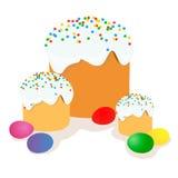 复活节蛋糕、鸡蛋和杨柳枝杈绘了水彩 向量化水彩图画 库存图片