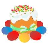 复活节蛋糕、鸡蛋和杨柳枝杈绘了水彩 向量化水彩图画 免版税图库摄影