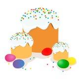 复活节蛋糕、鸡蛋和杨柳枝杈绘了水彩 向量化水彩图画 免版税库存图片