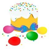 复活节蛋糕、鸡蛋和杨柳枝杈绘了水彩 向量化水彩图画 库存照片