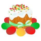 复活节蛋糕、鸡蛋和杨柳枝杈绘了水彩 向量化水彩图画 图库摄影
