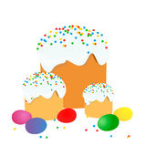复活节蛋糕、鸡蛋和杨柳枝杈绘了水彩 向量化水彩图画 免版税库存照片