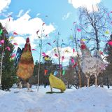 复活节装饰在城市公园 库存照片