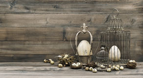 复活节装饰怂恿巢被定调子的鸟笼葡萄酒 免版税库存照片