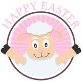复活节逗人喜爱的羊羔贺卡 免版税库存图片