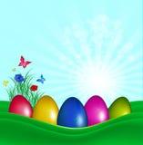 复活节颜色鸡蛋 库存图片